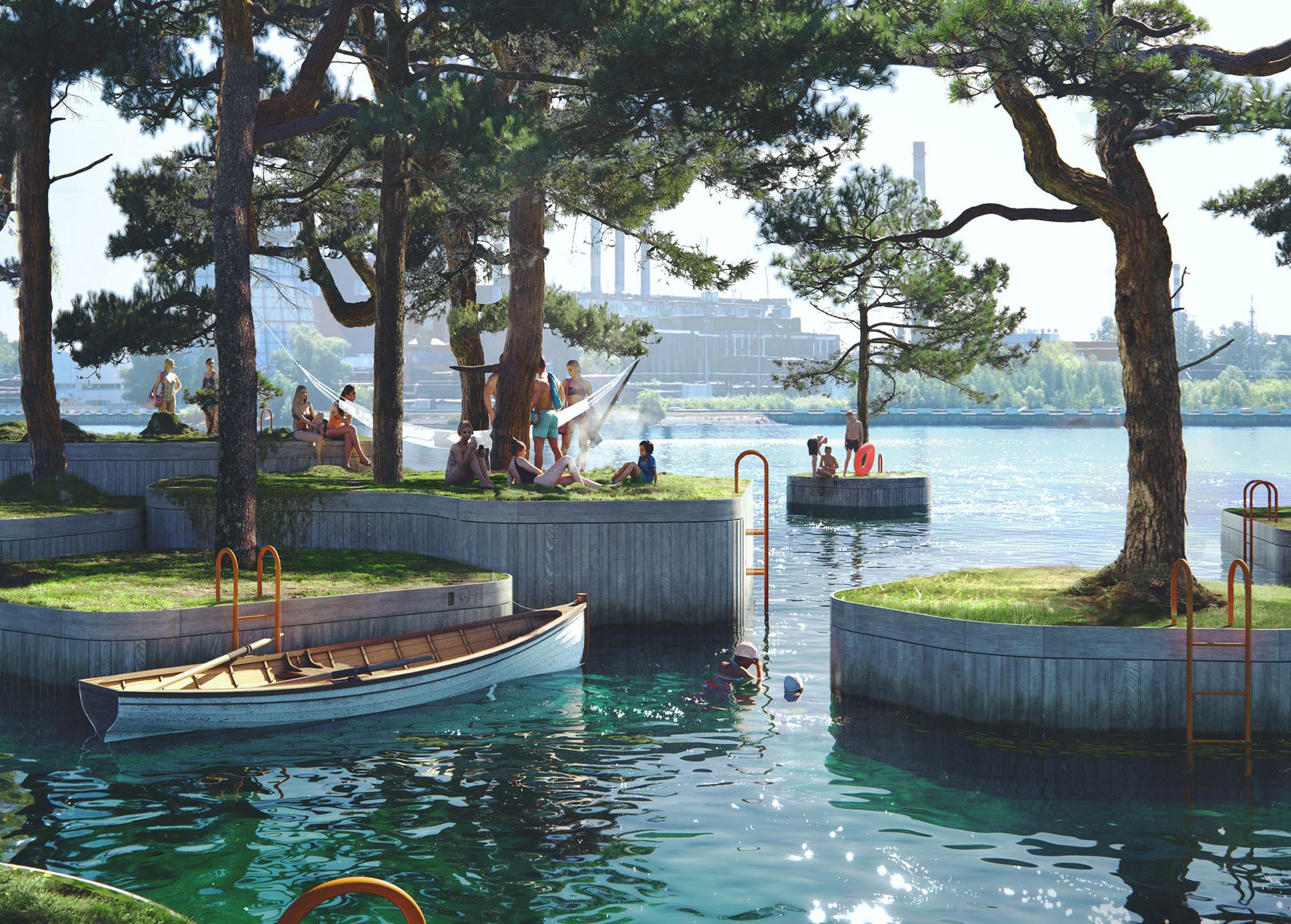 This Floating Park in Copenhagen Is Made of Tiny, Tree-filled Islands